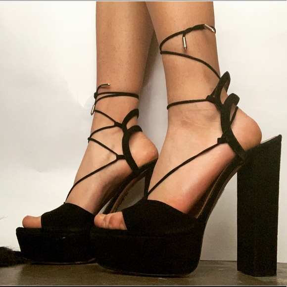 1d3b0946fc3 Black Aquazzura Suede Platform Sandals Heels.